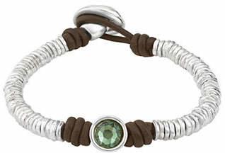 Uno de 50 Jungle Green Berry Silver & Leather Bracelet