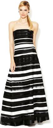 Alice + Olivia Lindy Silk Ribbon Stripe Strapless Gown