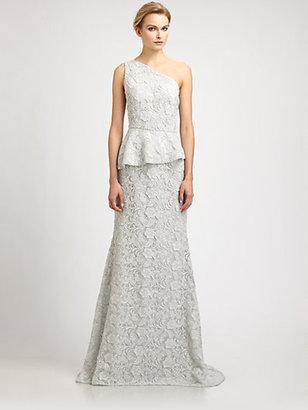 Carmen Marc Valvo Lace Peplum Gown