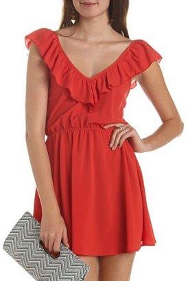 Charlotte Russe Ruffle-Neck A-Line Dress