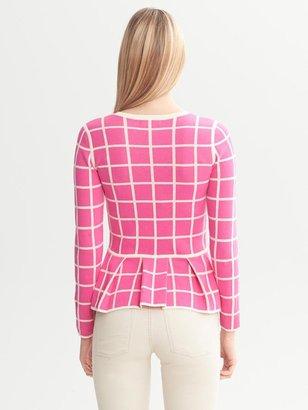 Banana Republic Pink Windowpane Peplum Sweater