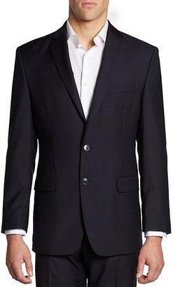 Calvin Klein Hairline-Striped Slim-Fit Wool Suit Jacket