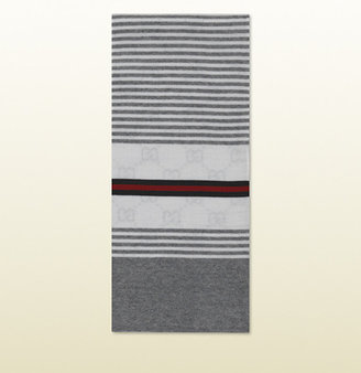 Gucci Knit Scarf With Signature Web Detail.