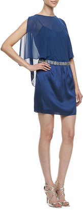 Laundry by Shelli Segal Beaded Waist Cape Dress, Night Blue