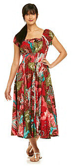 Chelsea & Theodore Chelsea Theodore Red Multi Garden Patterned Dress