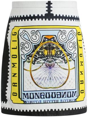 Mary Katrantzou Matchu Khan printed leather skirt