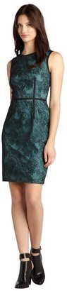 Ivy & Blu black and teal lace overlay sleeveless stretch dress