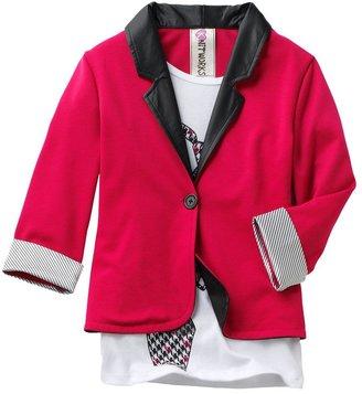 Knitworks mock-layer tie blazer - girls 7-16