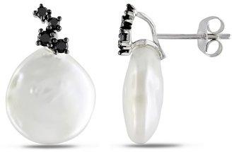 Black Diamond 1/4 Carat and Freshwater Pearl 10K White Gold Earrings By Michiko
