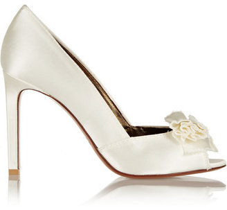 Lanvin - Bow-embellished Satin Pumps - White $850 thestylecure.com
