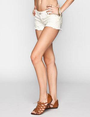 Vanilla Star HIPPIE LAUNDRY Crochet Side Womens Denim Cutoff Shorts