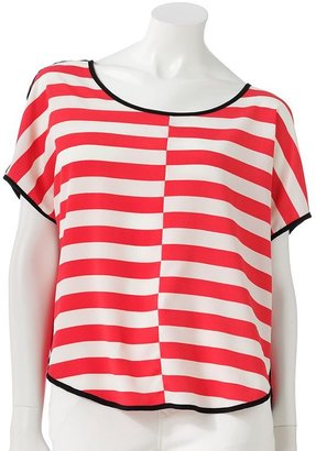 Lauren Conrad striped mixed-media top