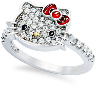 Hello Kitty Sterling Silver Ring, Small Pave Crystal Face Ring