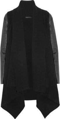 Donna Karan Leather and ribbed-knit wool and cashmere-blend Cozy