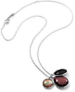 """Ippolita Sterling Silver Wonderland 3-Stone Charm Necklace in Pizzelle 16-18"""""""