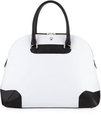 Furla Ischia Two-Tone Medium Dome Tote Bag, White/Onyx