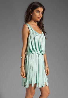Milly Rhinestone Embellished Silk Sage Dress
