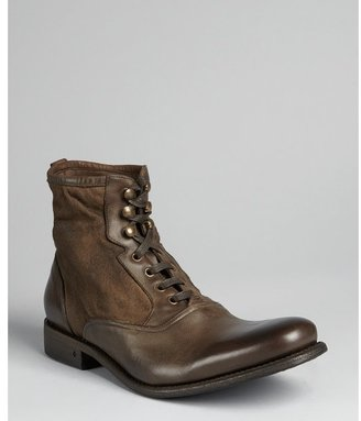 John Varvatos rusted brown leather 'Bowery' lace up spectator boots