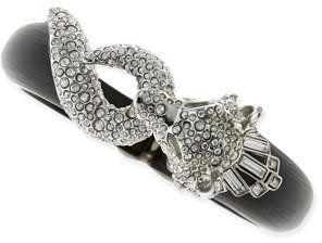 Alexis Bittar Pave Wolf Lucite Bangle, Black/Gray