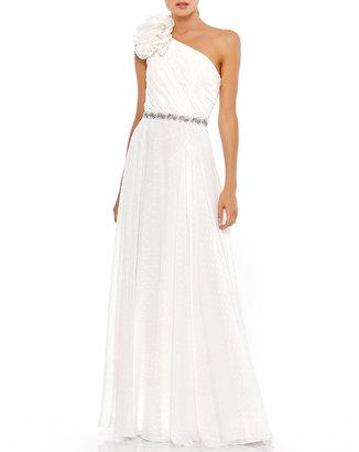 Mac Duggal Rosette Applique One-Shoulder A-Line Gown