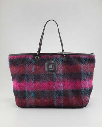 Longchamp Bi Gao Plaid Mohair Tote Bag, Large