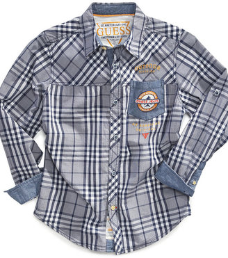 GUESS Shirt, Boys Mulberry Plaid Shirt
