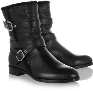 Gianvito Rossi Shearling-lined leather biker boots