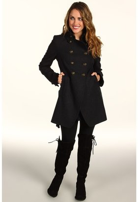 DKNY Double Breasted Cutaway Coat (Charcoal) - Apparel