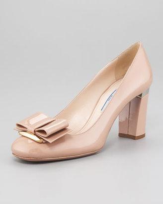 Prada Patent Leather Block-Heel Bow-Toe Pump