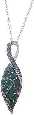 JCPenney Silver-Plated Green Crystal & Marcasite Leaf Pendant