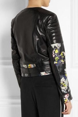 Jade floral-print nappa leather biker jacket
