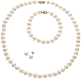 Freshwater Cultured Pearl 14k Gold Necklace, Bracelet & Stud Earring Set