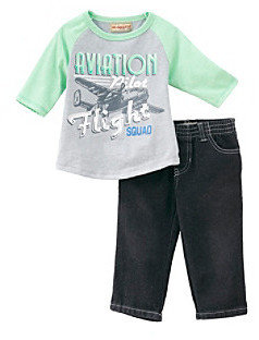 Kids Headquarters Baby Boys' Green/Grey 2-pc. Aviation Tee and Jeans Set