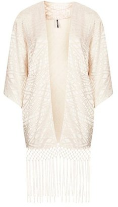 Topshop Geo Pattern Fringe Kimono Cardigan