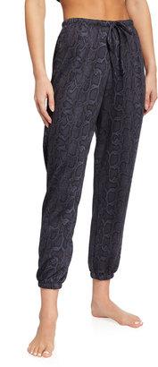 Onzie Snakeskin-Print Fleece Sweatpants