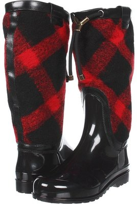 Burberry Check Wool Weather Boots (Black/Red/Black) - Footwear