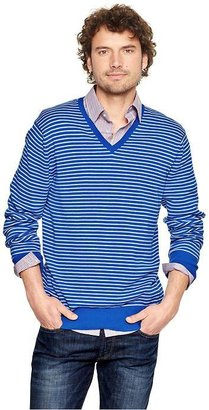 Gap Striped cotton V-neck sweater