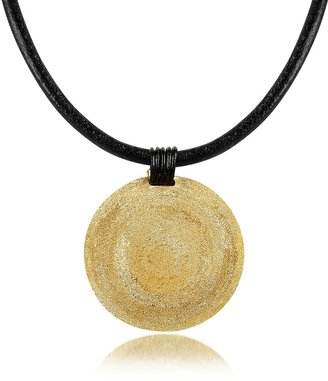 Stefano Patriarchi Golden Silver Etched Medium Round Pendant w/Leather Lace