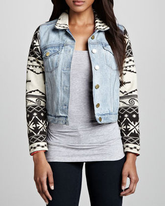 Maison Scotch Tribal-Trim Denim Jacket