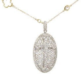 Jude Frances Pave Oval Guinevere Cross Pendant - White Gold