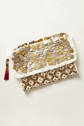 Anthropologie Shimmered Coin Clutch