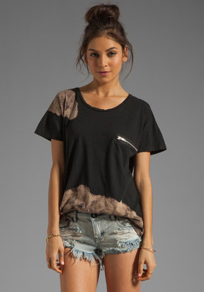 LnA Muse Zip Tee in Black with Bleach