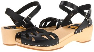Swedish Hasbeens Ornament Clog (Black/Nature) - Footwear