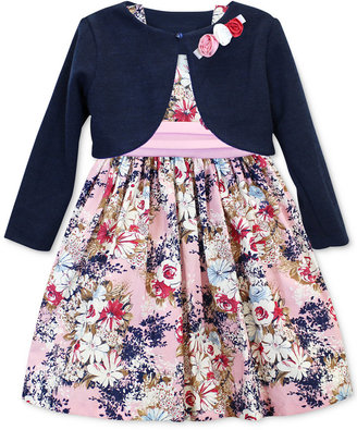 Jayne Copeland Little Girls' 2-Piece Floral-Print Dress & Bolero Set