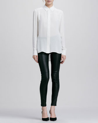 Vince Contrast Leather/Suede Leggings, Black