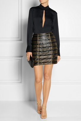 Balmain Cord-embellished leather mini skirt