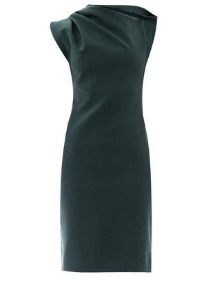 Lanvin Draped shoulder stretch-wool dress