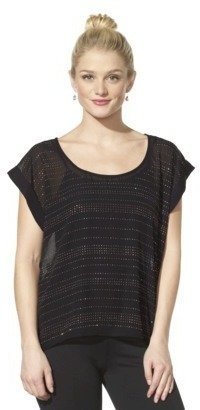 Xhilaration Junior's Studded Roll Sleeve Top - Assorted Colors