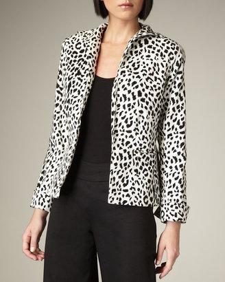 Neiman Marcus Leopard-Print Velvet Jacket