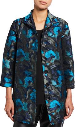 Caroline Rose Plus Size Midnight Turquoise Jacquard City Topper Jacket